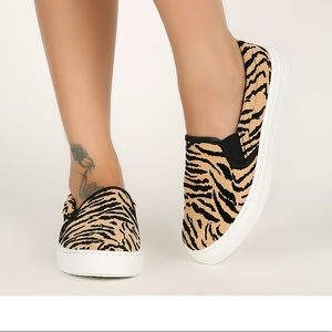 Qupid Tiger Print Slip on Sneakers size 6 New 💕